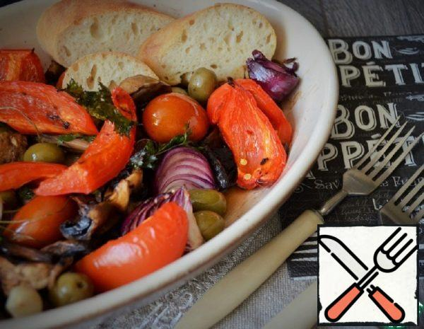 Vegetables with baked Mushrooms Recipe