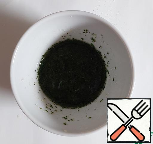 Add finely chopped parsley to the dressing, mix again.