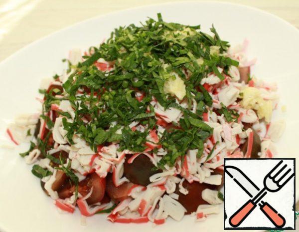Next, add garlic, salt and chopped herbs.